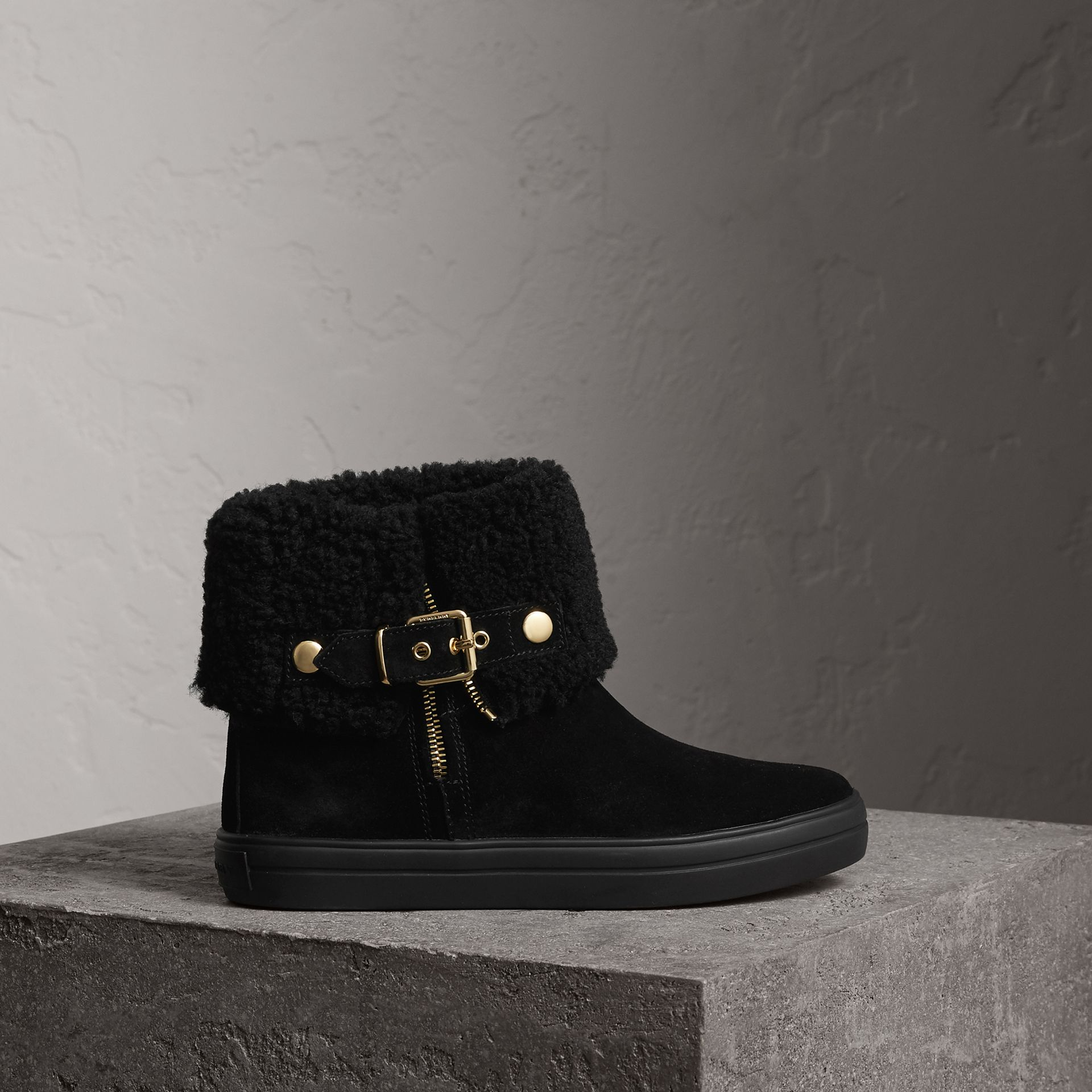 Shearling-lined Suede Ankle Boots in Black - Women | Burberry United States - gallery image 0