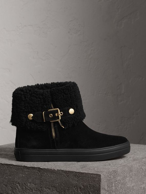 Ankle boots de camurça com forro de shearling (Preto)