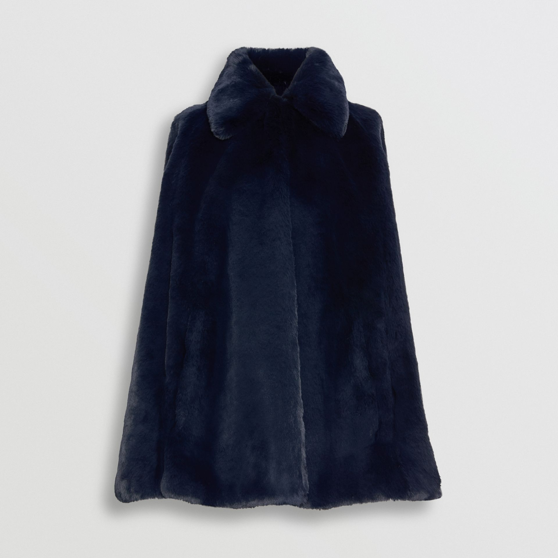 Faux Fur Cape in Navy - Women | Burberry - gallery image 3