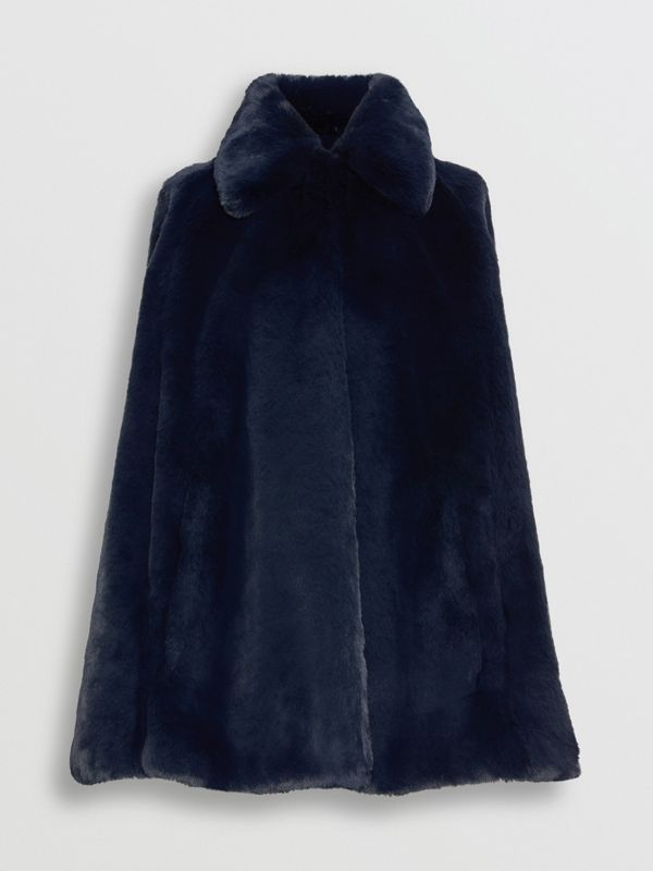 Faux Fur Cape in Navy - Women | Burberry - cell image 3