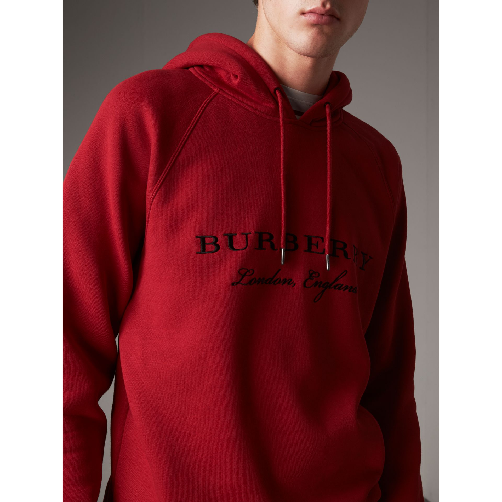 Embroidered Hooded Sweatshirt in Parade Red - Men | Burberry - gallery image 2