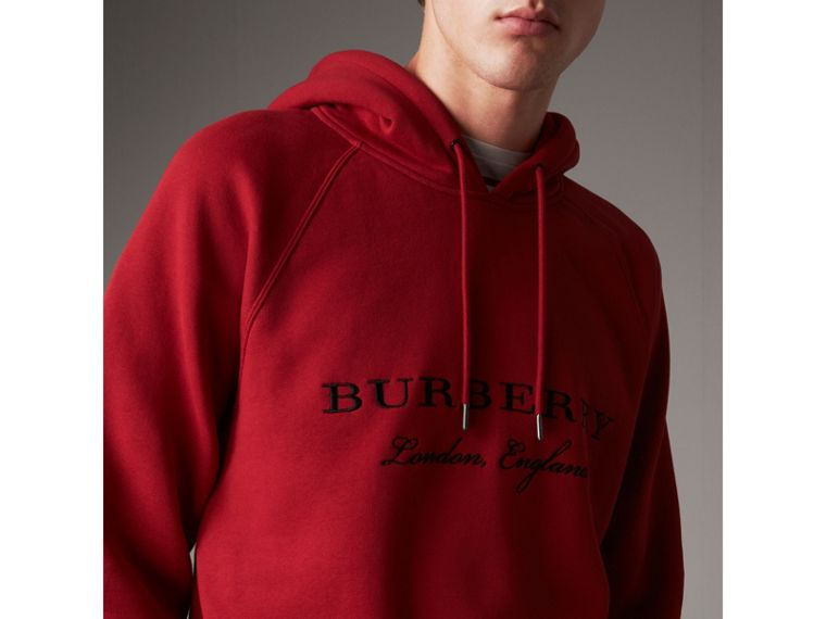 Embroidered Hooded Sweatshirt in Parade Red - Men | Burberry - cell image 1