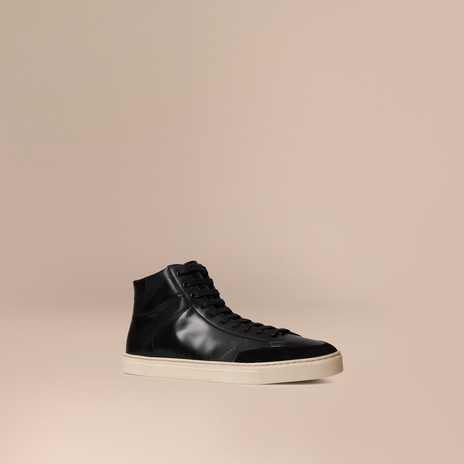 Black Embossed Check High-Top Leather Trainers - gallery image 1