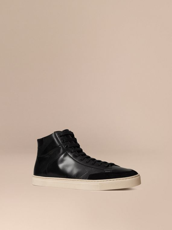Embossed Check High-Top Leather Trainers