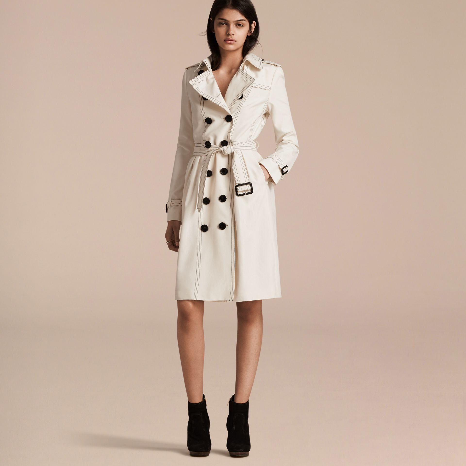 Parchment Silk Trench Coat with Topstitch Detail - gallery image 7