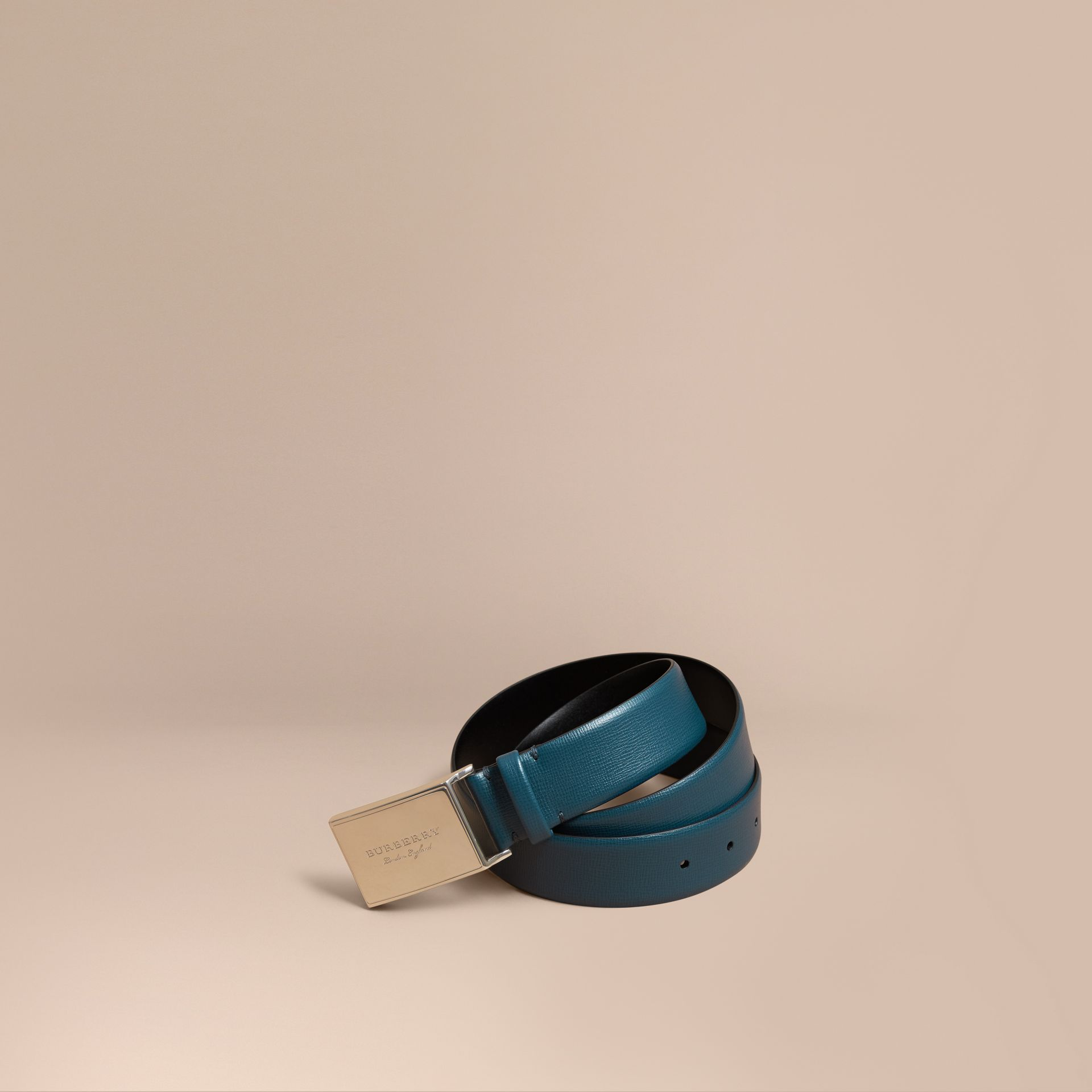 London Leather Belt with Plaque Buckle Mineral Blue - gallery image 1