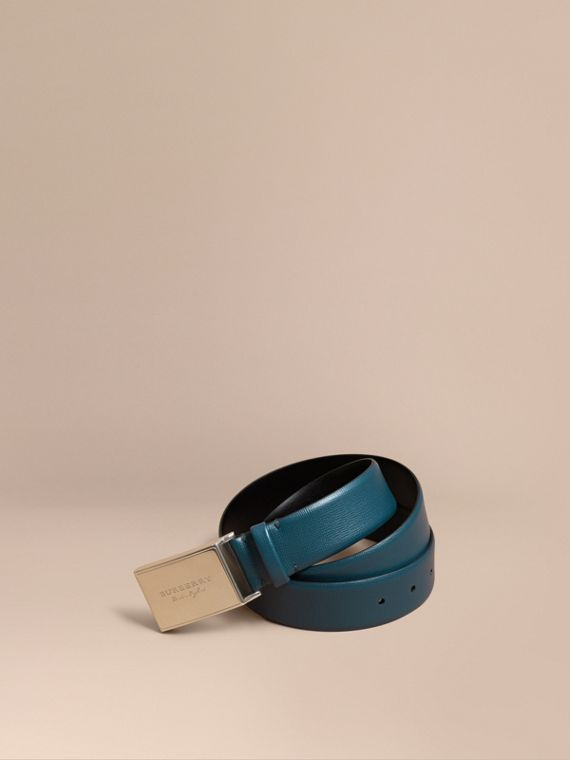 London Leather Belt with Plaque Buckle Mineral Blue