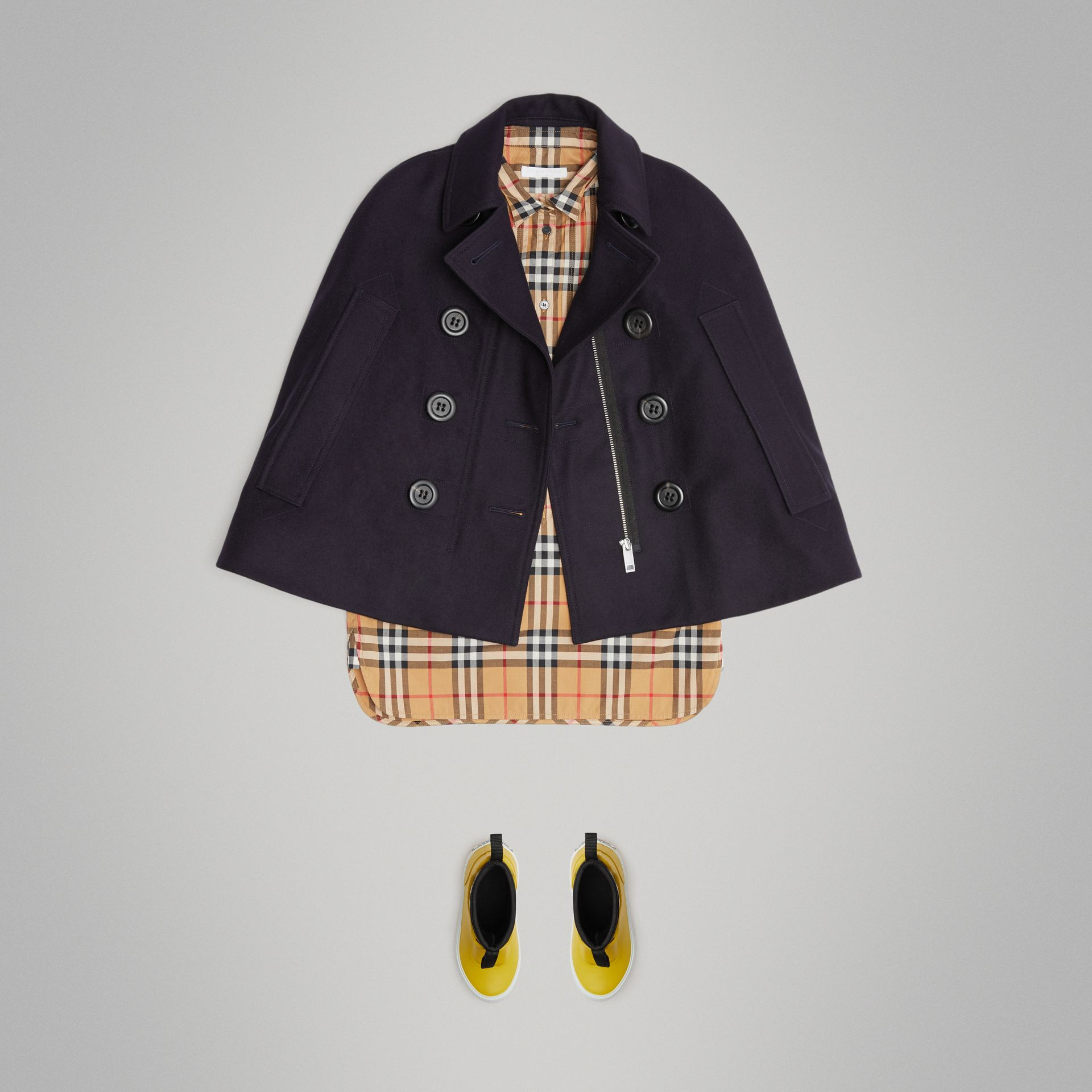 Wool Pea Coat Cape in Navy | Burberry United Kingdom - gallery image 2
