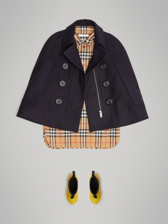Capa estilo pea coat de lã (Azul Marinho)