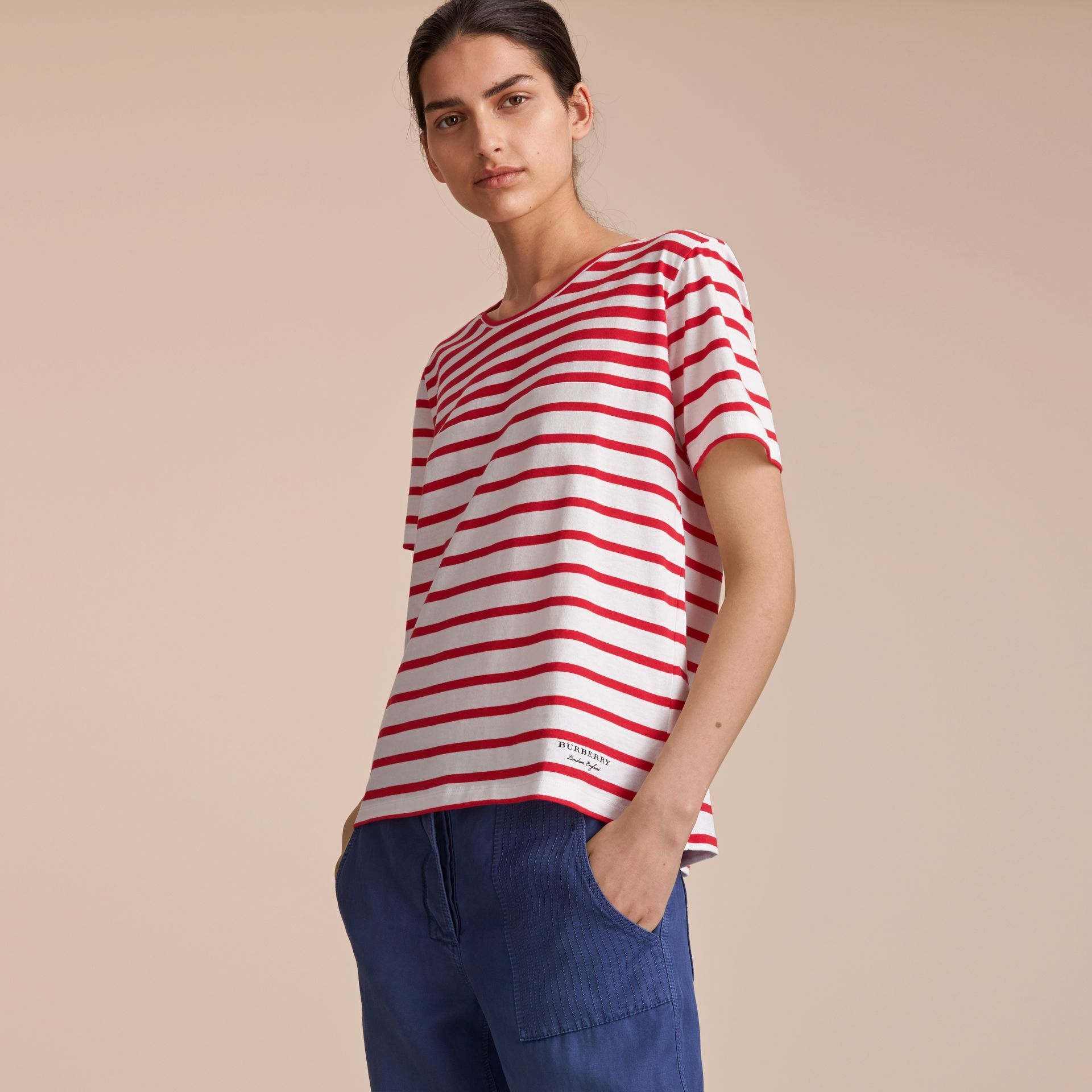 Breton Stripe Cotton T-shirt in Military Red/white - Women | Burberry - gallery image 5