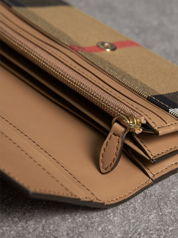 House Check And Leather Continental Wallet in Dark Sand - Women | Burberry Canada - cell image 3