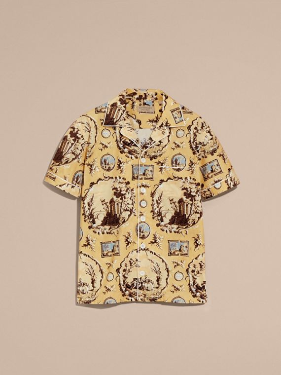 Yellow barley Short-sleeved Castle Print Pyjama-style Shirt - cell image 3