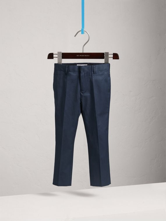 Tailored Stretch Cotton Trousers in Navy | Burberry - cell image 2
