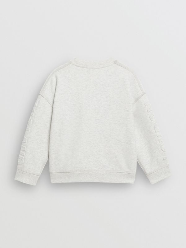 Embossed Logo Cotton Sweatshirt in White Melange | Burberry United States - cell image 3