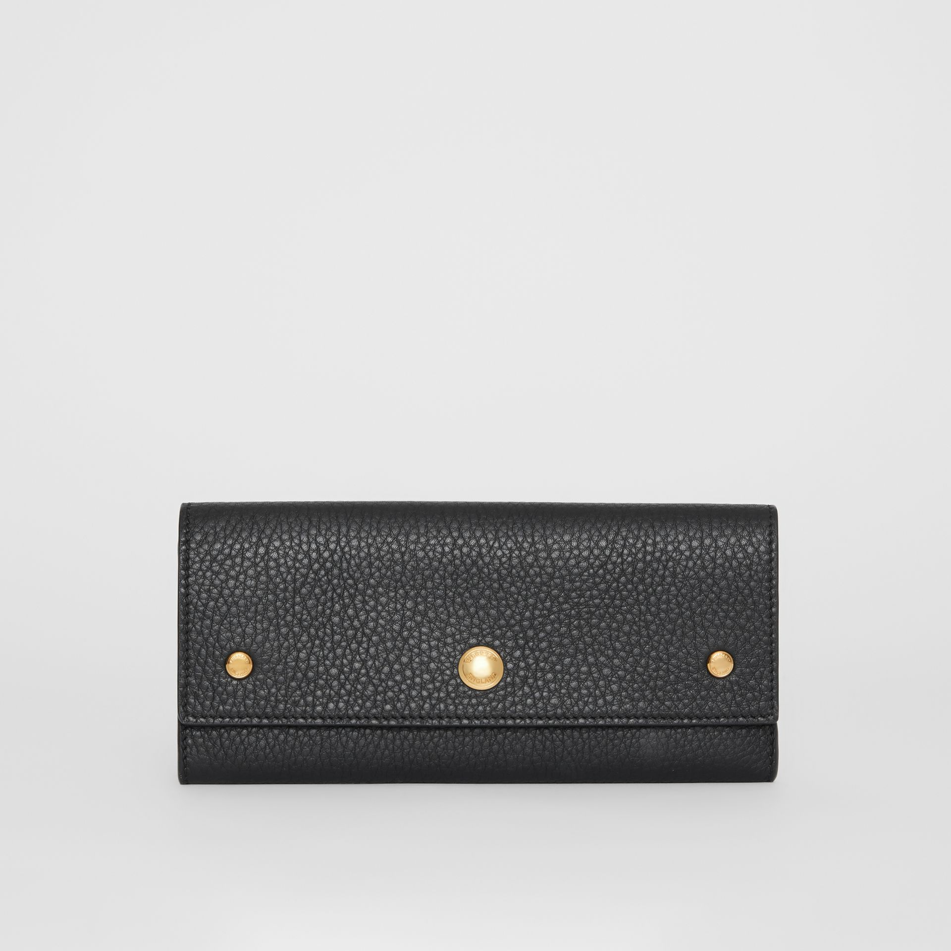 Grainy Leather Continental Wallet in Black - Women | Burberry - gallery image 0