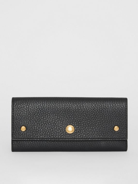 36b457a88fe8e Grainy Leather Continental Wallet in Black