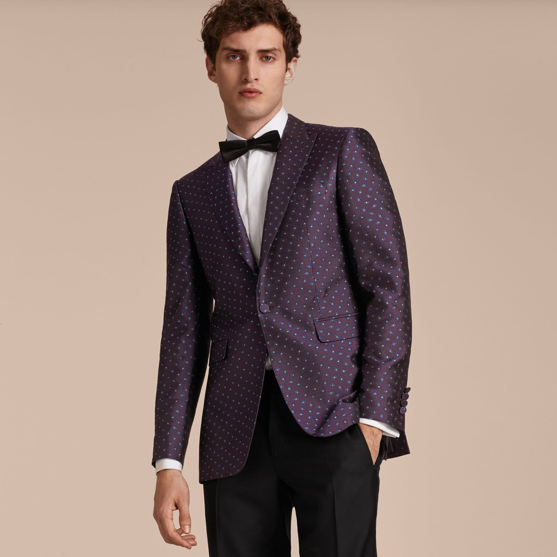 Deep aubergine Slim Fit Geometric Silk Jacquard Tailored Jacket - gallery image 8