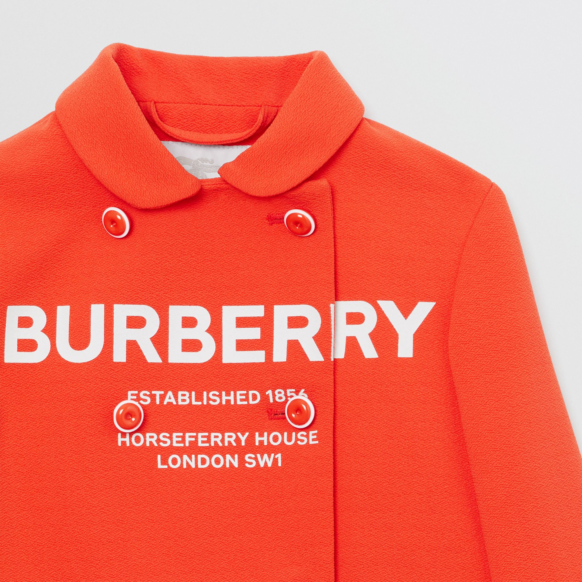 Logo Print Crepe Jersey Double-breasted Jacket in Bright Red | Burberry - gallery image 4