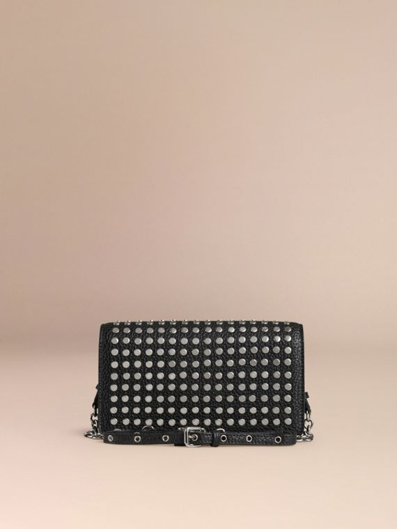 Black Studded Leather Clutch Bag with Chain - cell image 3