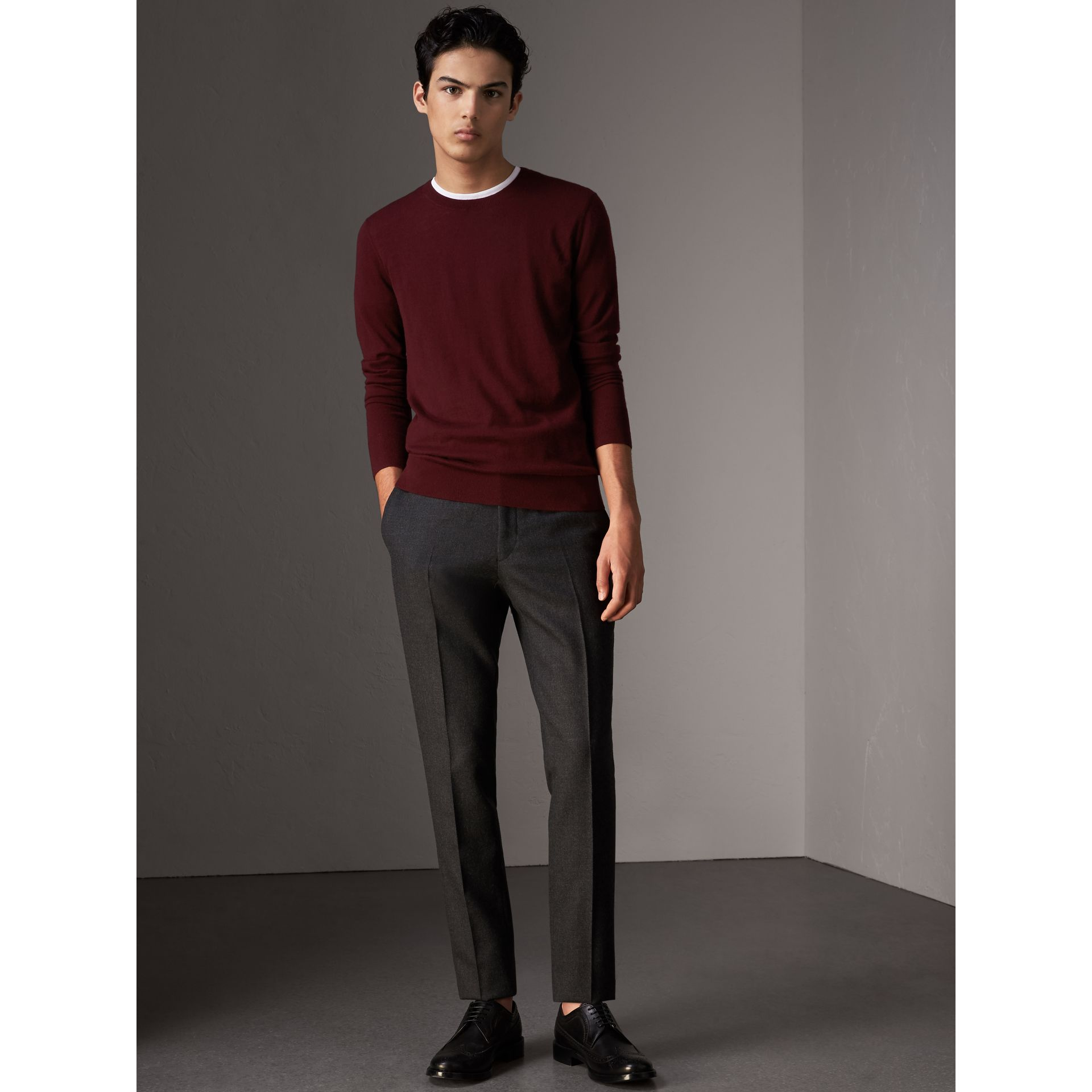 Check Jacquard Detail Cashmere Sweater in Deep Claret - Men | Burberry - gallery image 1