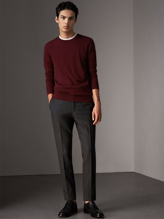 Check Jacquard Detail Cashmere Sweater in Deep Claret