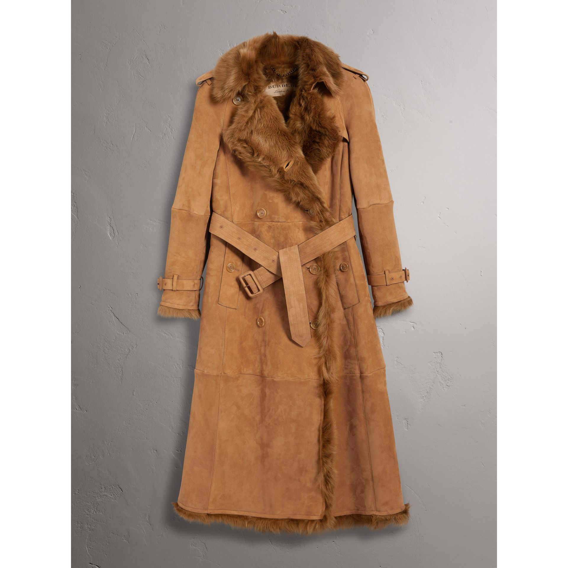 Shearling Long Trench Coat in Dark Camel - Women | Burberry - gallery image 3