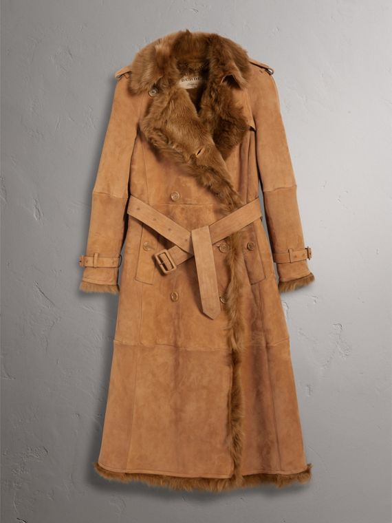Shearling Long Trench Coat in Dark Camel - Women | Burberry - cell image 3