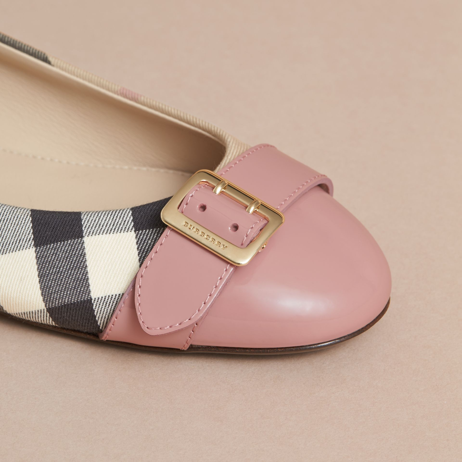 Buckle Detail Check and Patent Leather Ballerinas in Nude Pink - Women | Burberry - gallery image 2