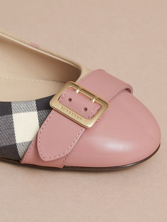 Buckle Detail Check and Patent Leather Ballerinas in Nude Pink | Burberry United States - cell image 1