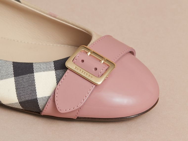 Buckle Detail Check and Patent Leather Ballerinas in Nude Pink - Women | Burberry - cell image 1