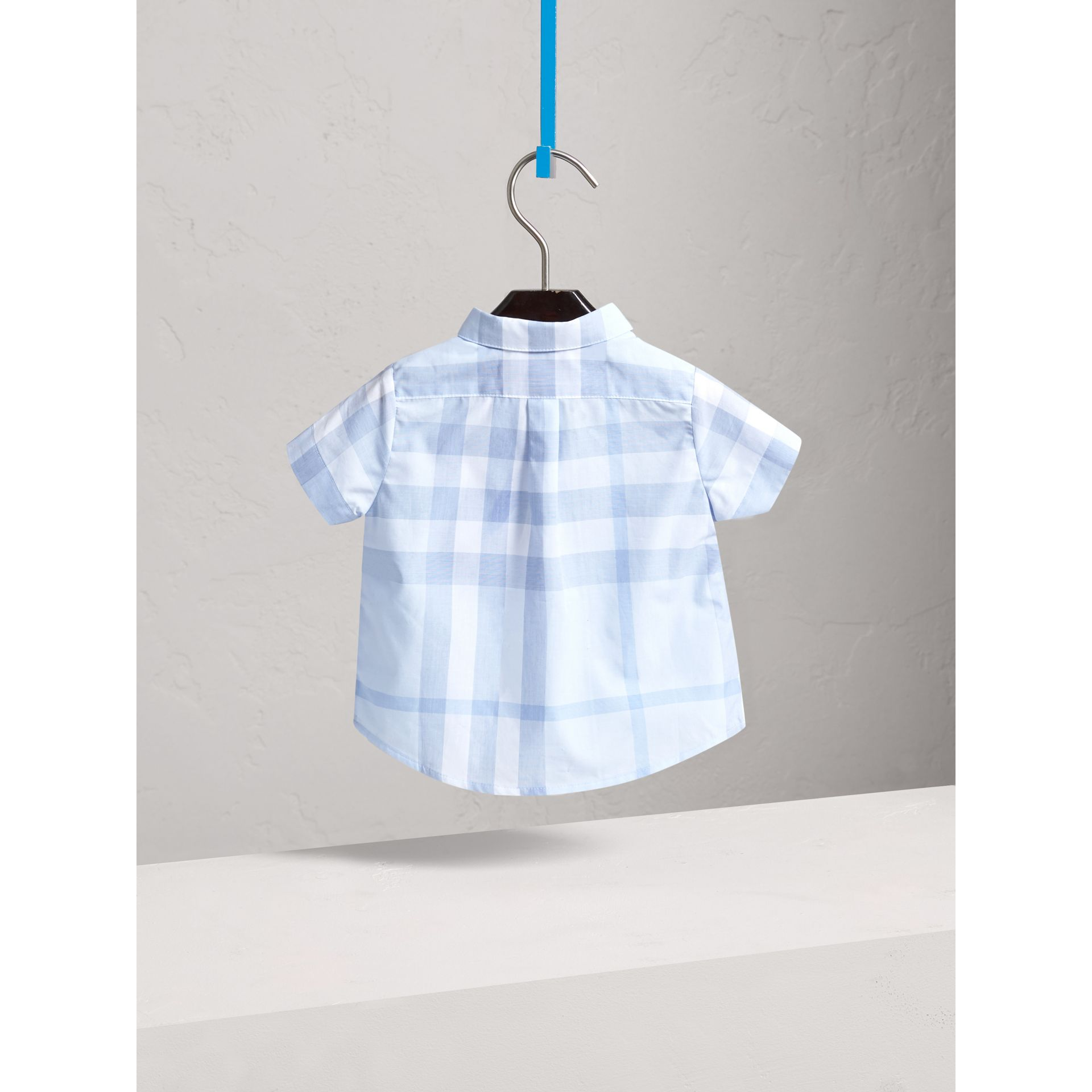 Short-sleeve Check Cotton Shirt in Ice Blue | Burberry - gallery image 3