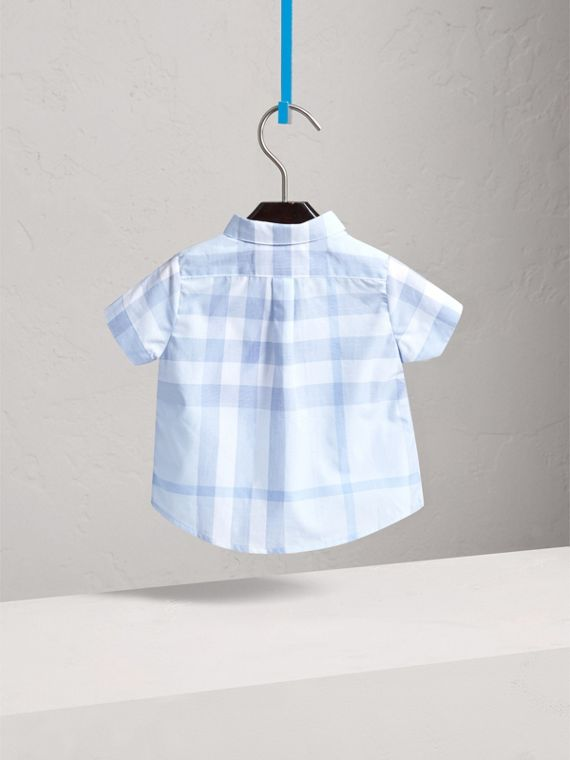 Short-sleeve Check Cotton Shirt in Ice Blue | Burberry - cell image 3