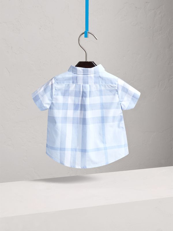 Short-sleeve Check Cotton Shirt in Ice Blue | Burberry United Kingdom - cell image 3