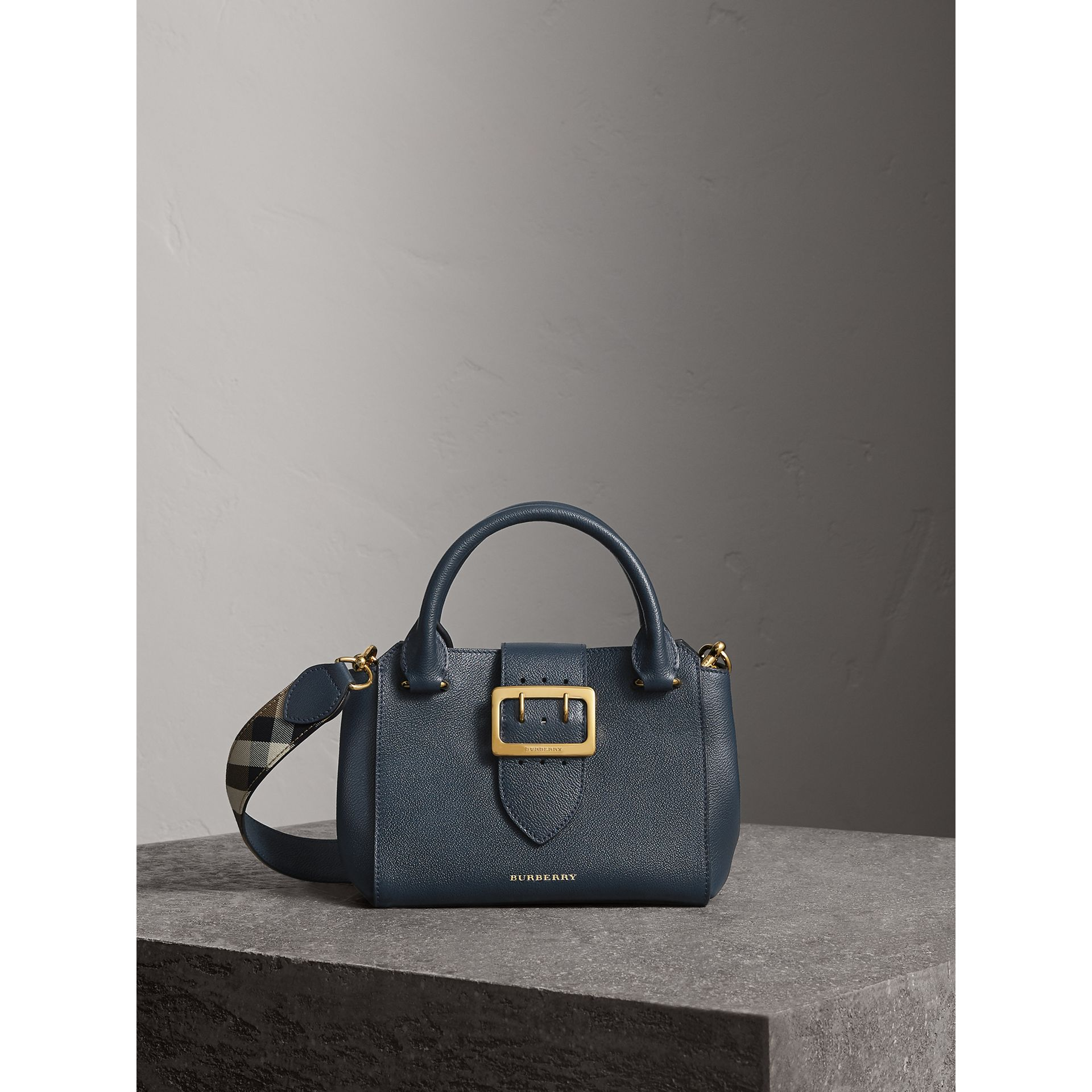 The Small Buckle Tote in Grainy Leather in Blue Carbon - Women | Burberry - gallery image 1