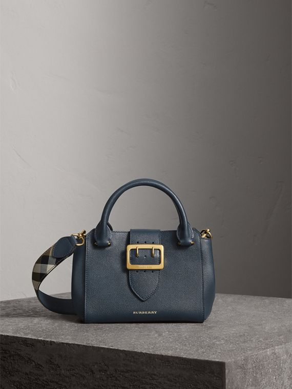The Small Buckle Tote in Grainy Leather in Blue Carbon - Women | Burberry
