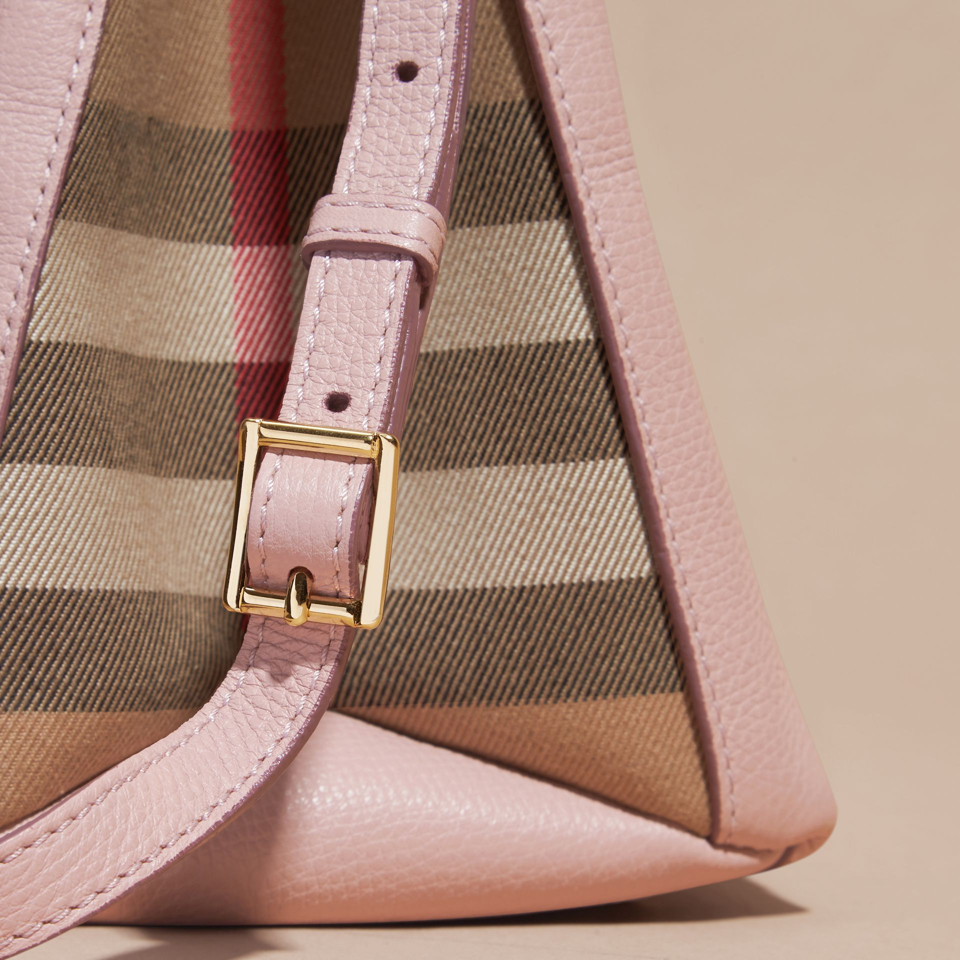 The Medium Banner in Leather and House Check in Pale Orchid - Women | Burberry - gallery image 2