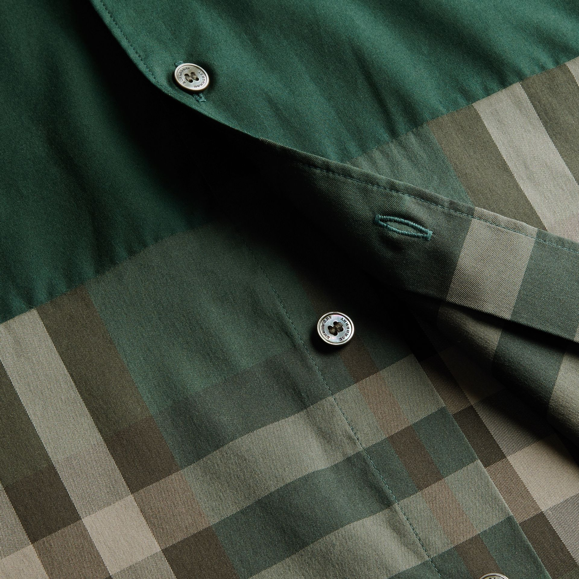 Racing green Check Panel Stretch-Cotton Poplin Shirt Racing Green - gallery image 2
