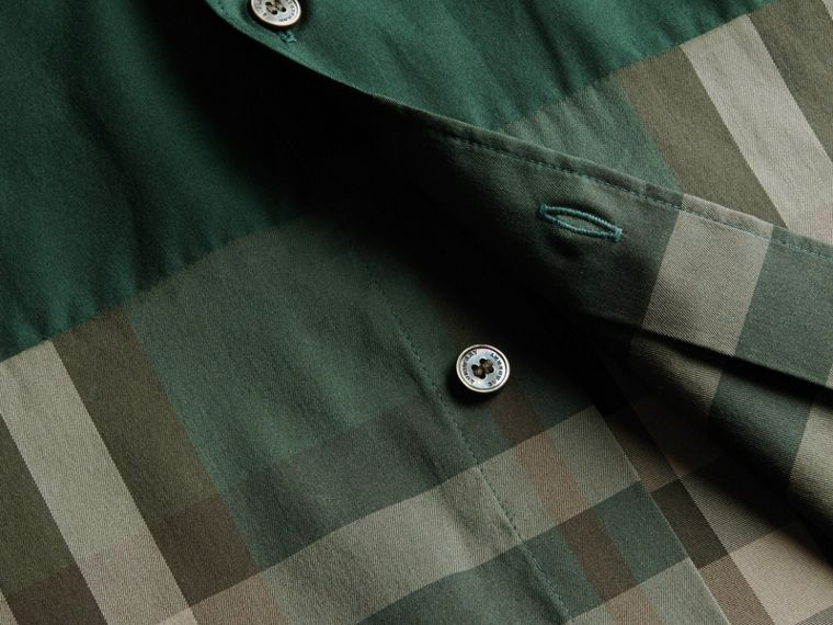 Racing green Check Panel Stretch-Cotton Poplin Shirt Racing Green - cell image 1