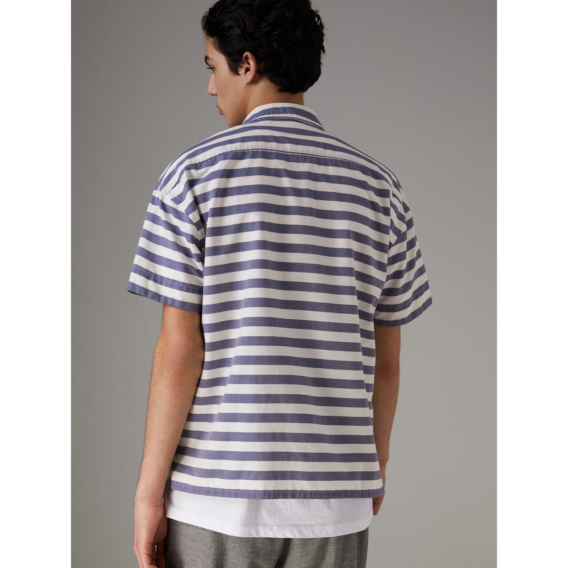 Short-sleeve Striped Cotton Shirt in Steel Blue - Men | Burberry - gallery image 2