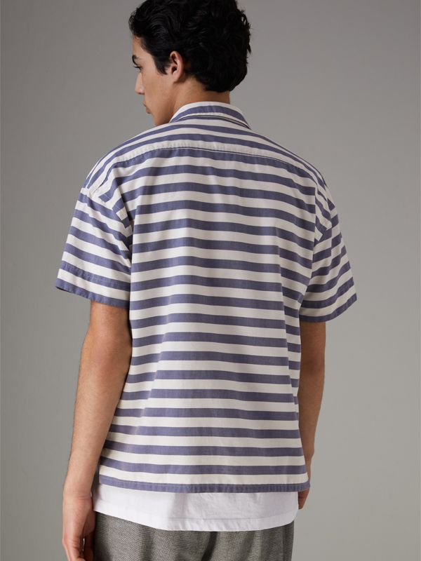Short-sleeve Striped Cotton Shirt in Steel Blue - Men | Burberry Australia - cell image 2