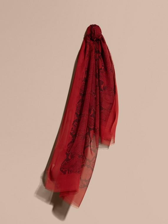 Python Print Silk Scarf Windsor Red