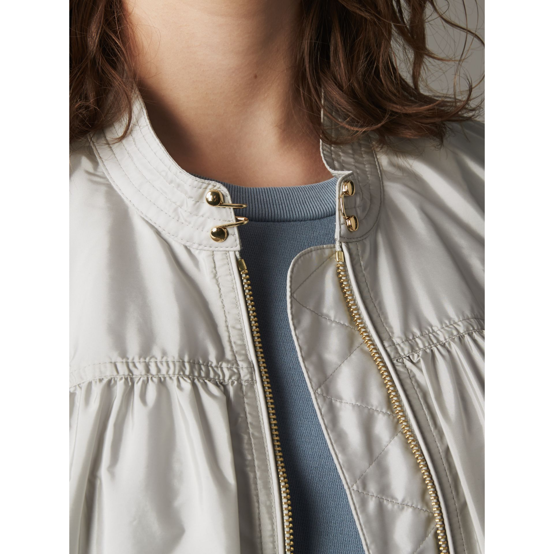 Ruched Showerproof Jacket in Pale Grey - Women | Burberry - gallery image 2