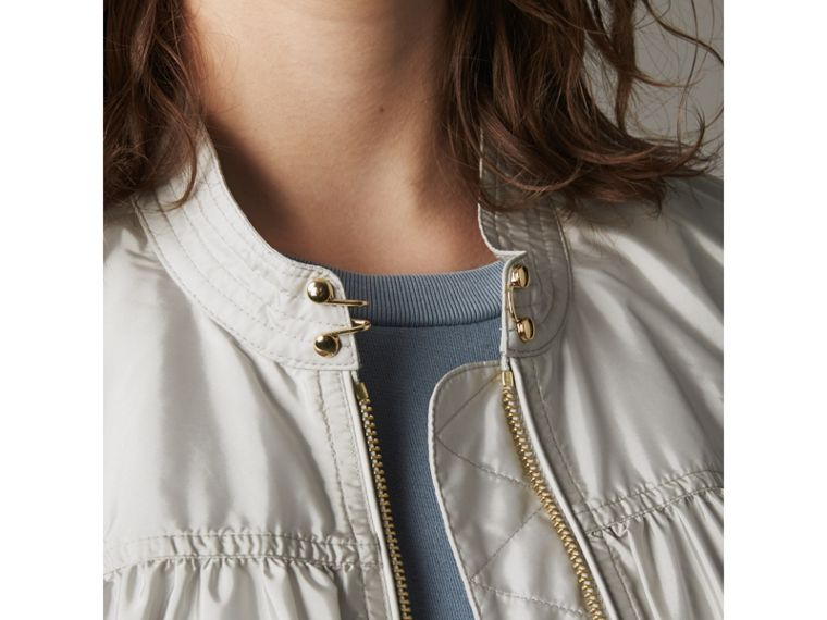 Ruched Showerproof Jacket in Pale Grey - Women | Burberry - cell image 1