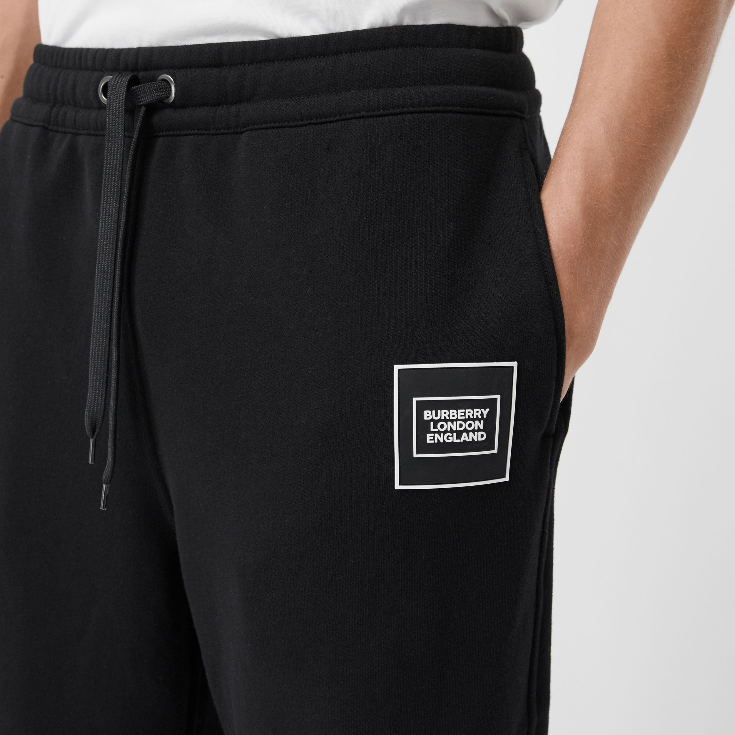 Logo Appliqué Cotton Jogging Pants in Black - Men | Burberry - 2