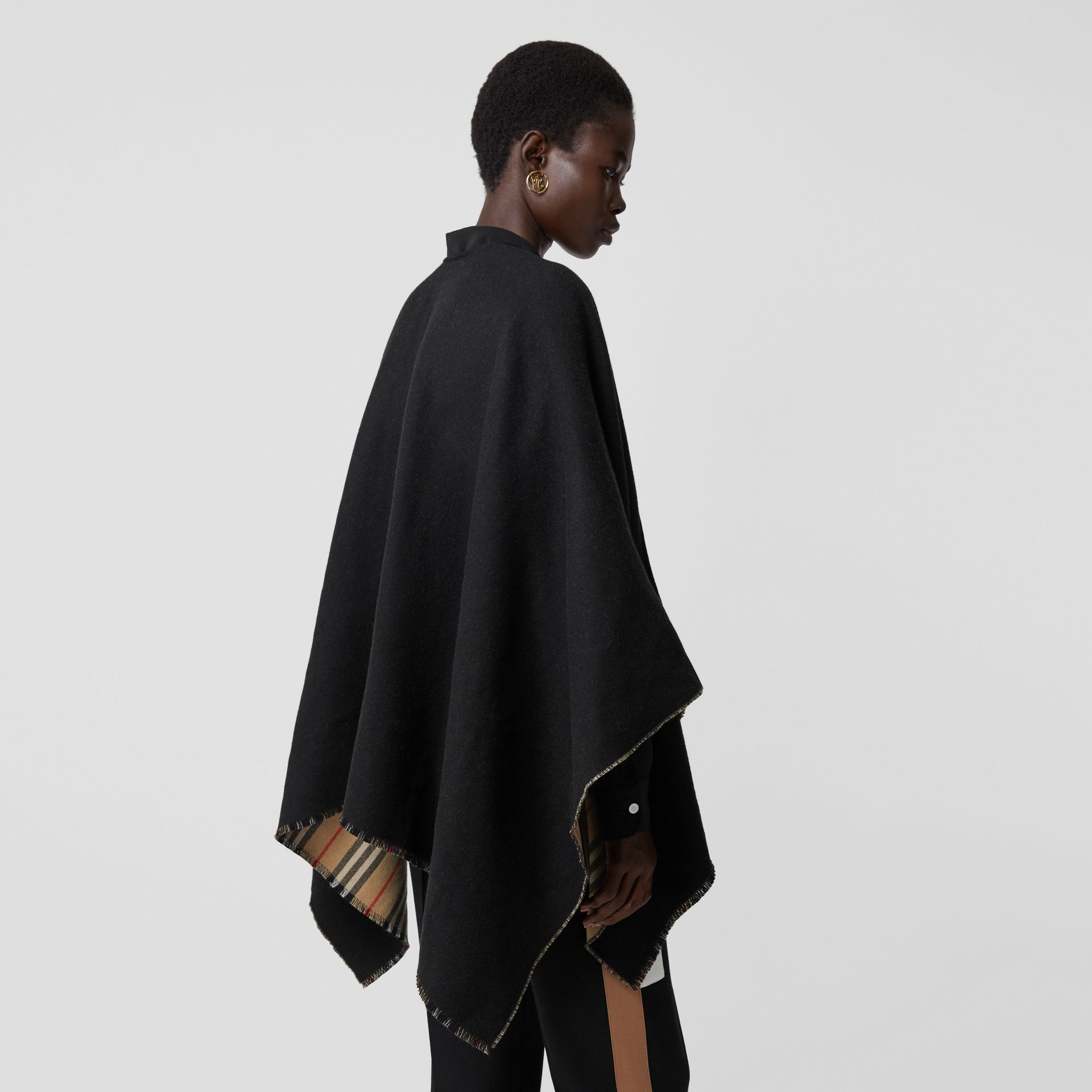 Icon Stripe Detail Wool Cape in Black - Women | Burberry - gallery image 2