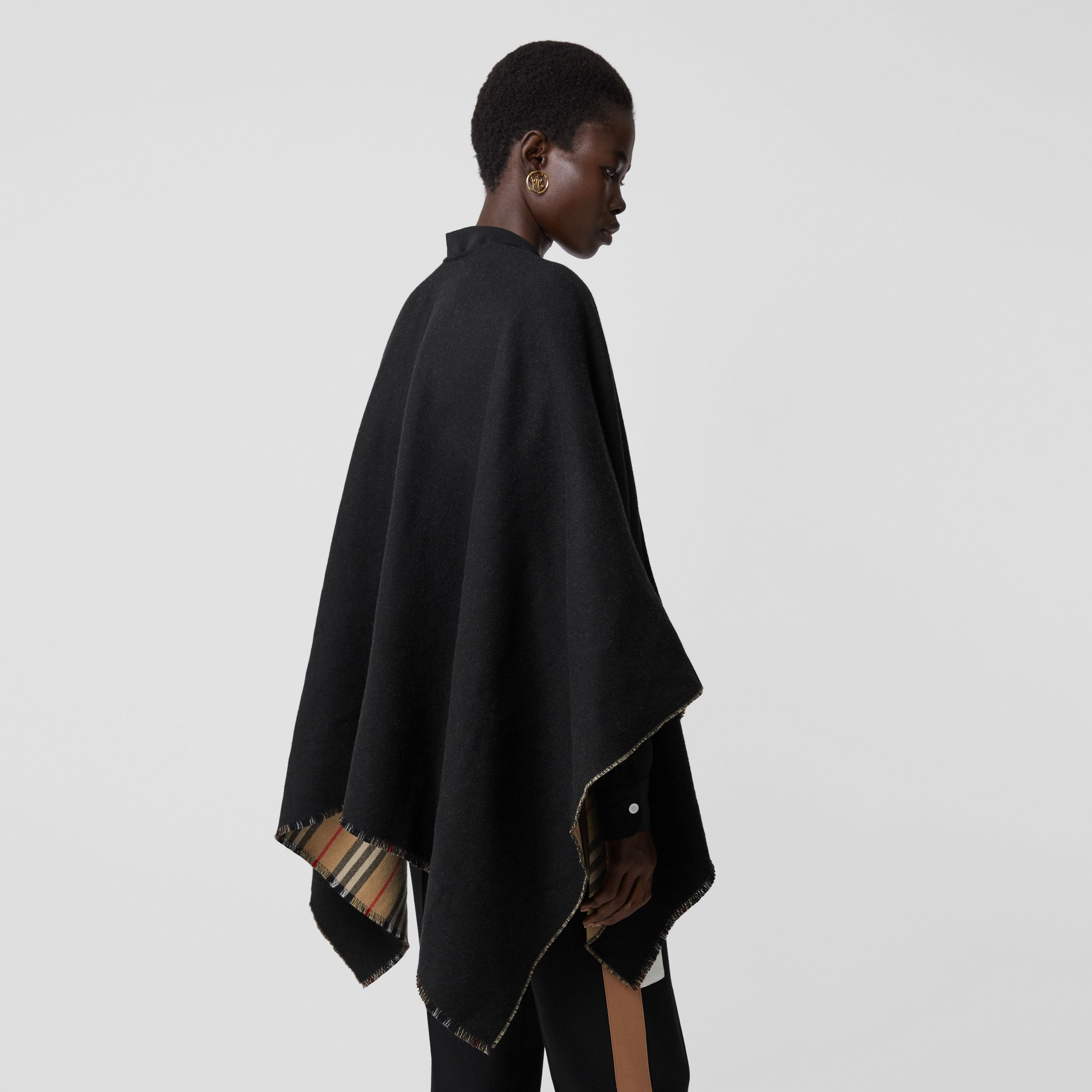 Icon Stripe Detail Wool Cape in Black - Women | Burberry - 3