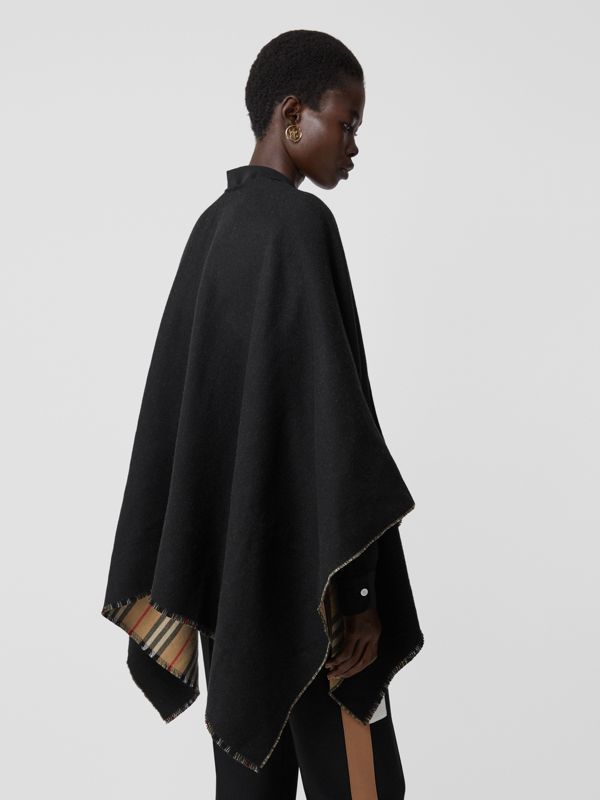 Icon Stripe Detail Wool Cape in Black - Women | Burberry - cell image 2