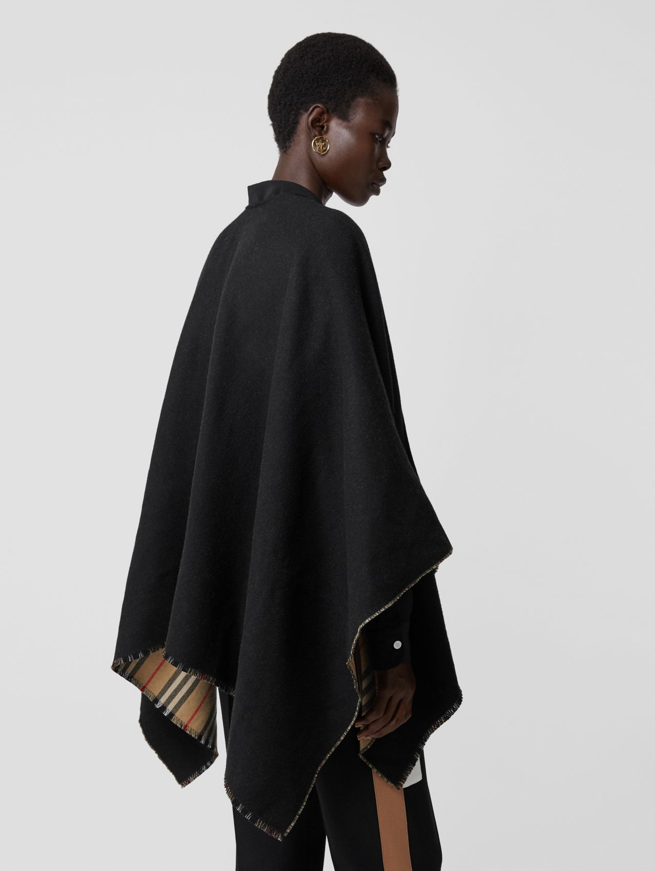 Icon Stripe Detail Wool Cape in Black