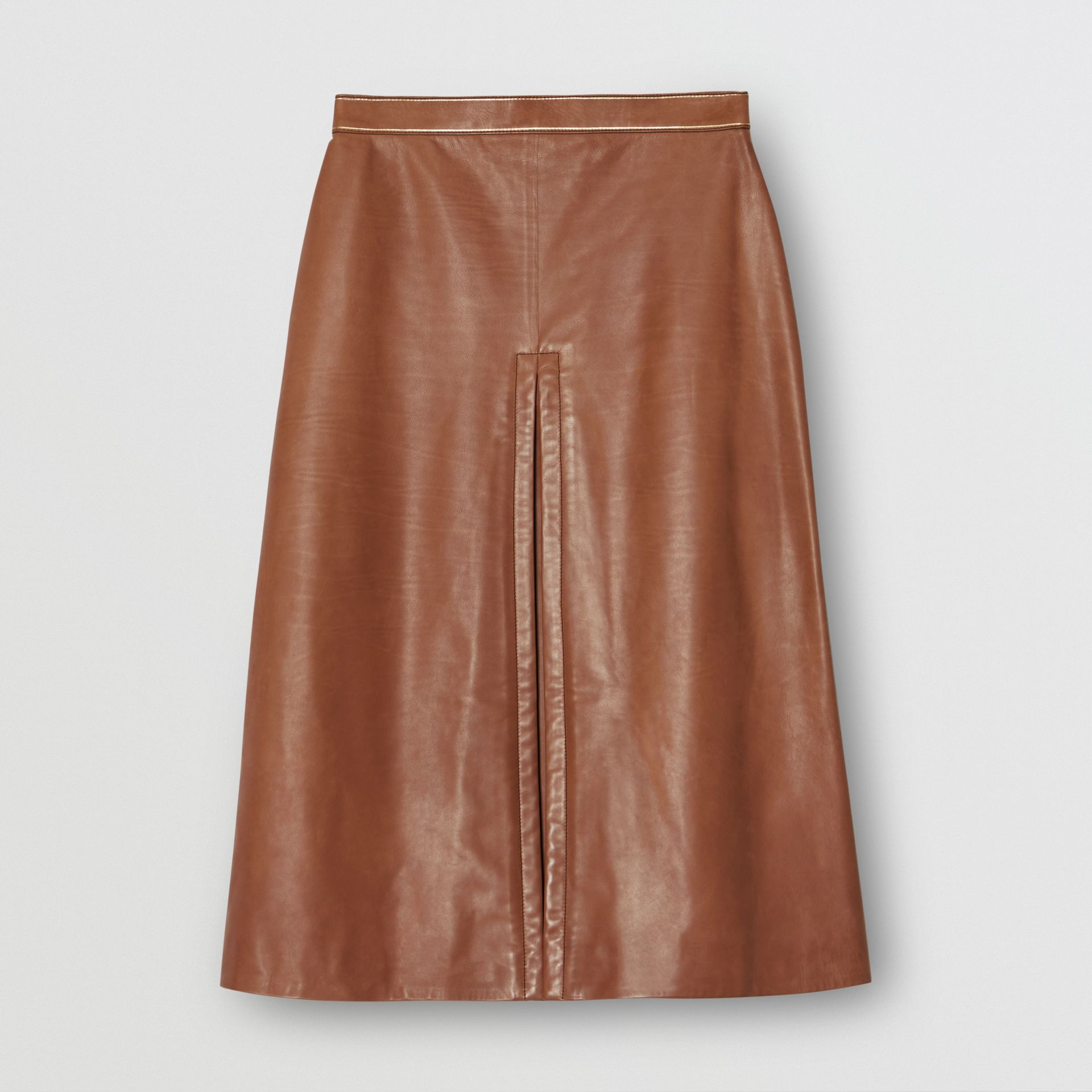 Box Pleat Detail Leather A-line Skirt in Flaxseed - Women | Burberry - gallery image 3