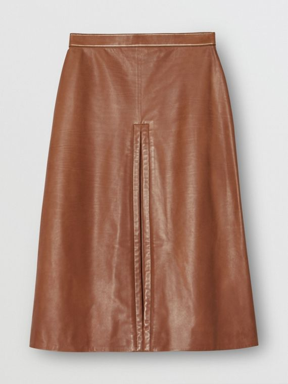 Box Pleat Detail Leather A-line Skirt in Flaxseed